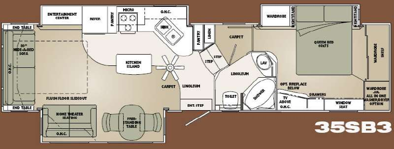 Used 2008 carriage cameo f35sb3 fifth wheel at gardner 39 s for Carriage rv floor plans