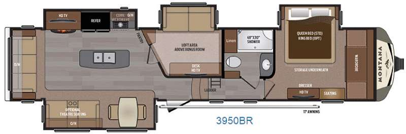 New 2016 keystone rv montana 3950br fifth wheel at collier for Fifth wheel with bonus room
