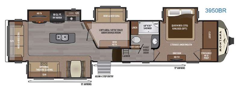 New 2017 keystone rv montana 3950 br fifth wheel at for Montana floor plans
