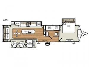 Sandpiper Destination Trailers 393RL Floorplan Image