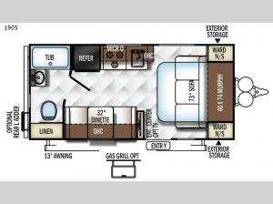 Rockwood Mini Lite 1905 Floorplan Image