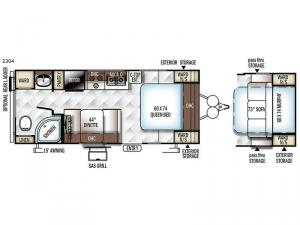 Rockwood Mini Lite 2304 Floorplan Image