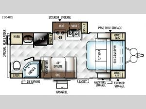 Rockwood Mini Lite 2304KS Floorplan Image