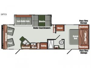 Gulf Breeze Ultra Lite 28 TCS Floorplan Image