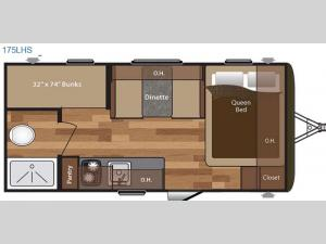 Hideout Single Axle 175LHS Floorplan Image