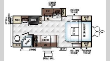 Floorplan - 2017 Forest River RV Flagstaff Micro Lite 23FBKS