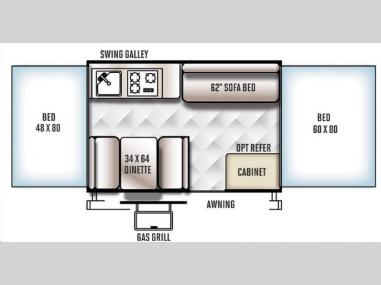 Floorplan - 2017 Forest River RV Rockwood Freedom Series 1970