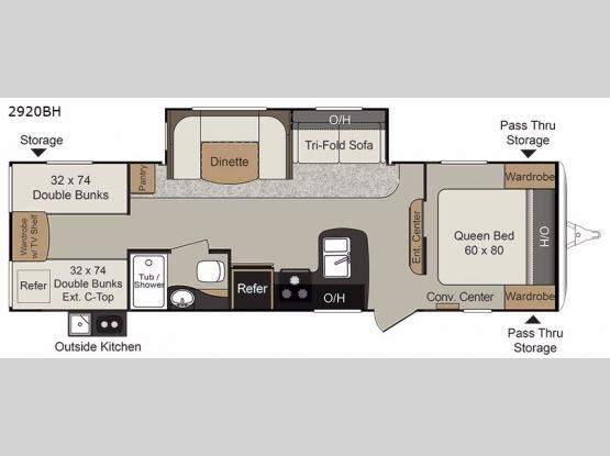Passport 2920BH Grand Touring Floorplan Image
