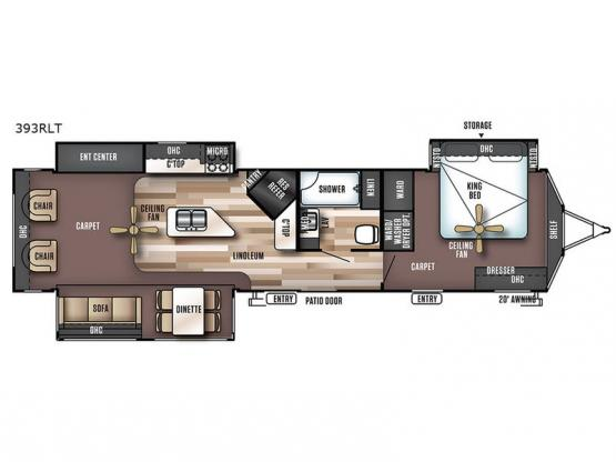 Wildwood Lodge 393RLT Floorplan Image