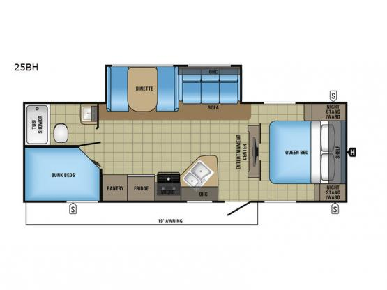 Jay Feather 25BH Floorplan Image