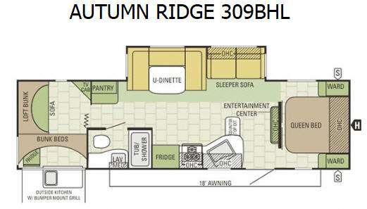 Autumn Ridge 309BHL Floorplan Image