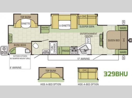 Autumn Ridge 329BHU Floorplan Image