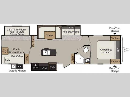 Passport 3320BH Grand Touring Floorplan Image