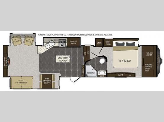 Alpine 3535RE Floorplan Image