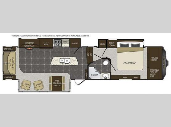 Alpine 3600RS Floorplan Image