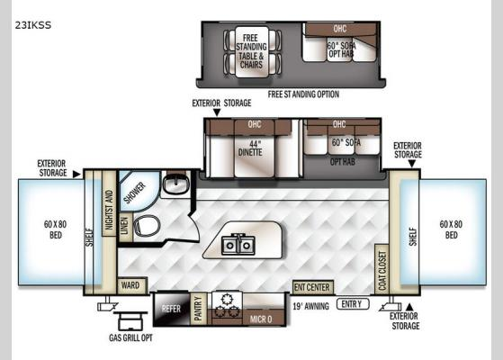 Floorplan - 2017 Rockwood Roo 23IKSS Expandable
