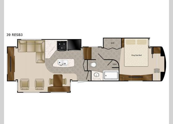 Floorplan - 2017 Elite Suites 39 RESB3 Fifth Wheel