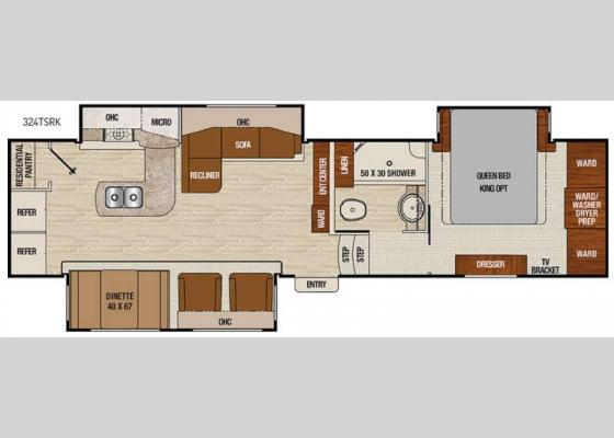 Floorplan - 2017 Chaparral 324TSRK Fifth Wheel