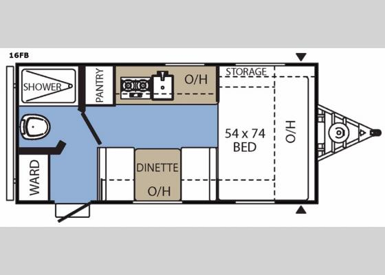 Floorplan - 2017 Clipper Ultra-Lite 16FB Travel Trailer