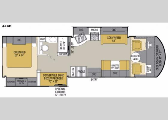 Floorplan - 2017 Pursuit 33 BH Motor Home Class A