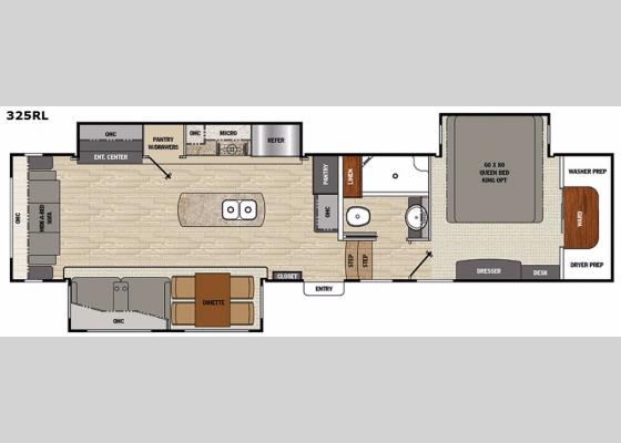 Floorplan - 2017 Brookstone 325RL Fifth Wheel