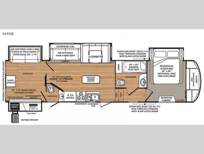 new 2016 forest river rv wildcat 344qb fifth wheel at campers inn floorplan 2016 forest river rv wildcat 344qb