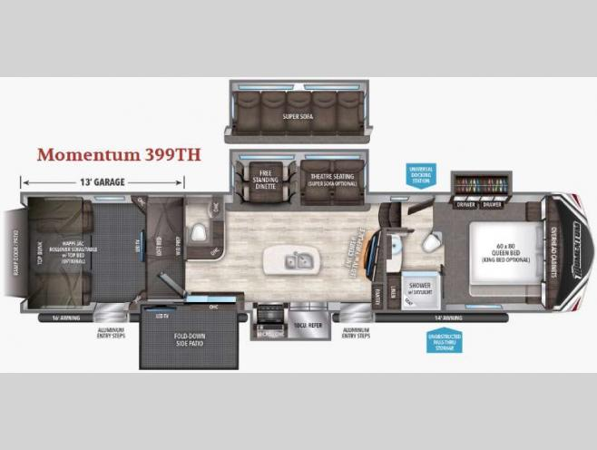 Floorplan - 2017 Grand Design Momentum 399TH
