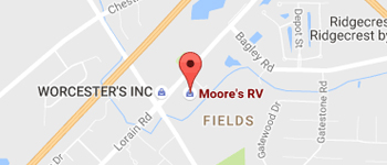 Moore's RV dealership in ohio, picture of moore's rv on a google map with a pin that says moores rv