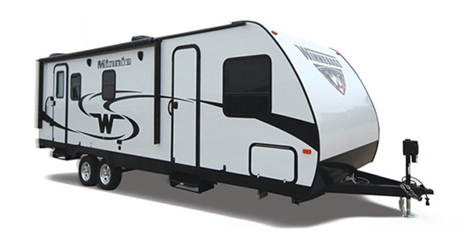 picture of a winnebago minnie trailer that will be for sale at the ohio rv show, rv show, ohio rv show at the ix center in cleveland ohio