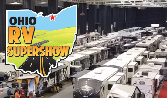 rv show, picture of the ix center with rvs inside for the ohio rv show, 2017 ohio rv show