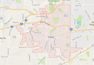 rvs for sale near elyria ohio, picture of elyria ohio on a map