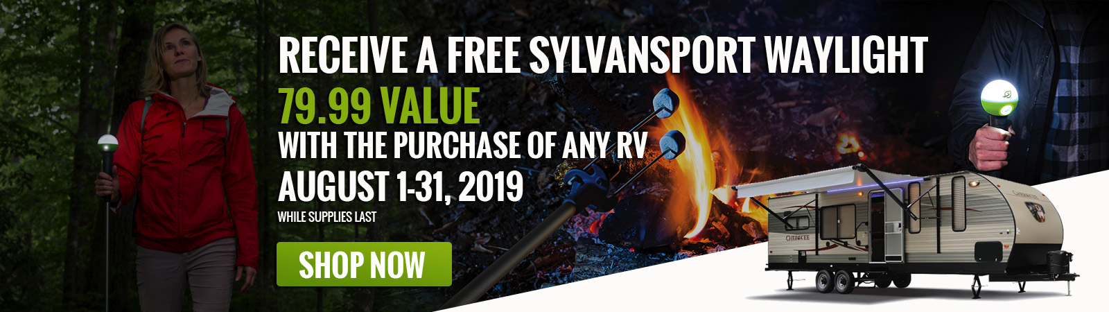 Receive a free Sylvansport WayLight, 79.99 value with the purchase of an RV