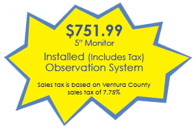 """YOUR RV $751.995"""" Monitor Installed (Includes Tax) Observation System Sales tax is based on Ventura County sales tax of 7.75%"""