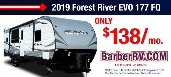 2019 Forest River EVO 177 FQ Only $138 Per Month
