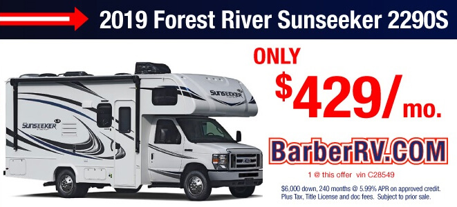 2019 Forest River Sunseeker 2290s Only $429 Per Month
