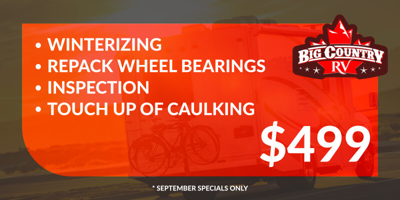 Winterizing, repack wheel bearings, inspection, and touch up of caulking for $499