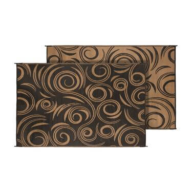 Outdoor Mat - Brown and Tan Swirl Pattern