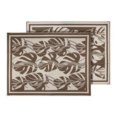 Outdoor Mat - Brown and White Leaf Pattern
