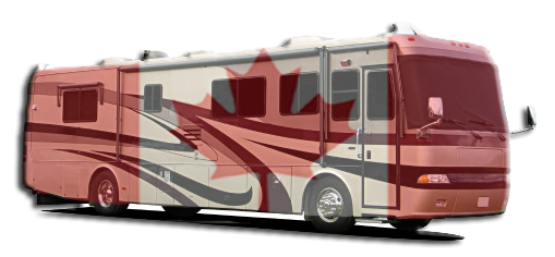 RV With Canadian Flag Overlay