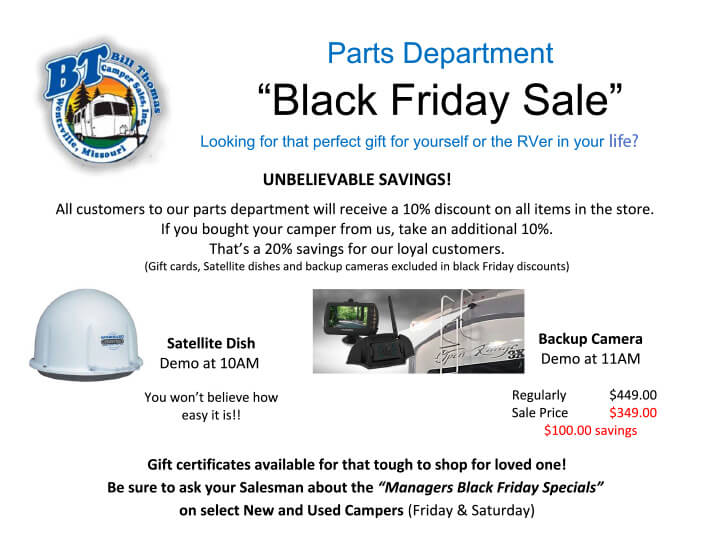 Black Friday Sale | Bill Thomas Camper Sales