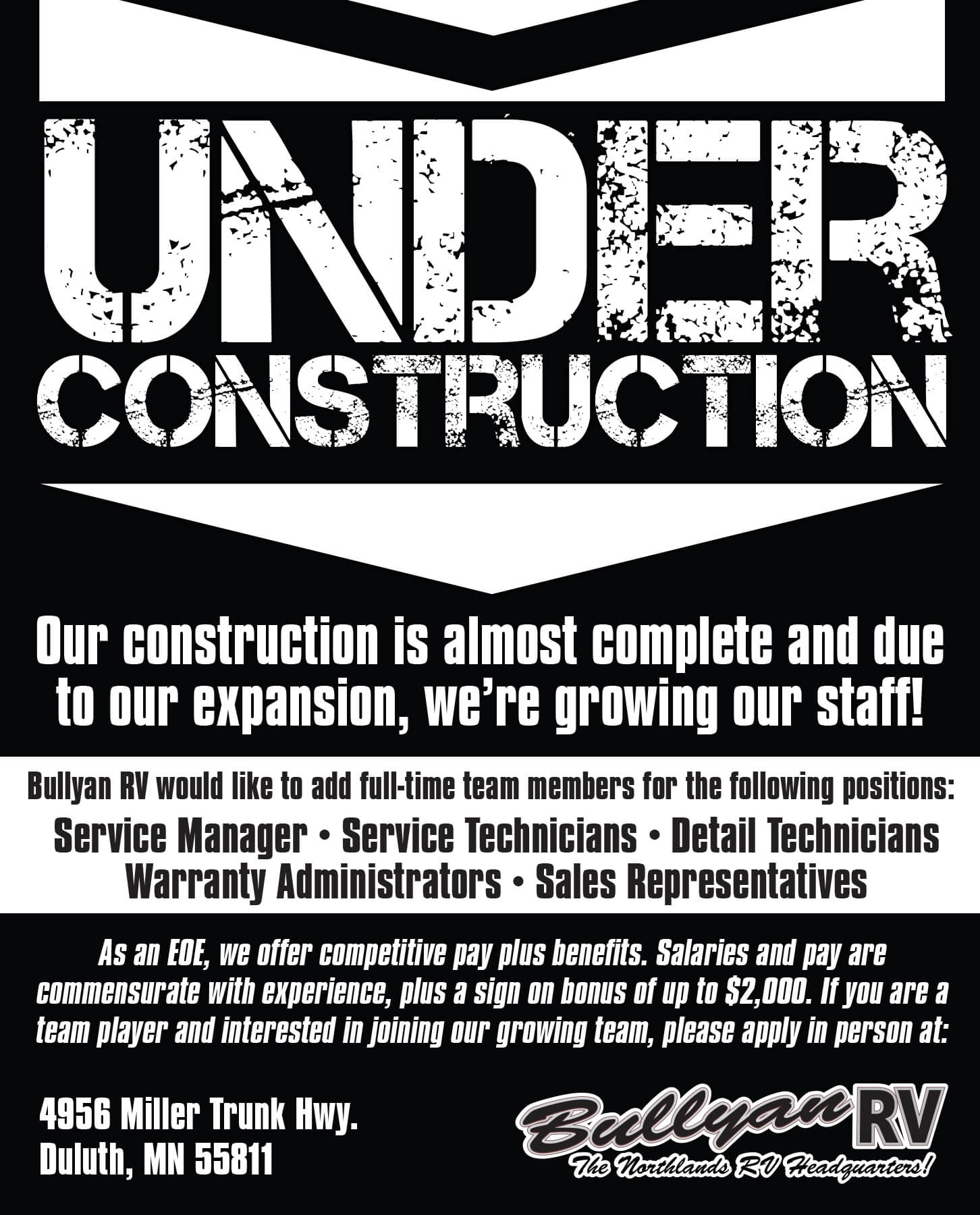 Under Construction and Now Hiring