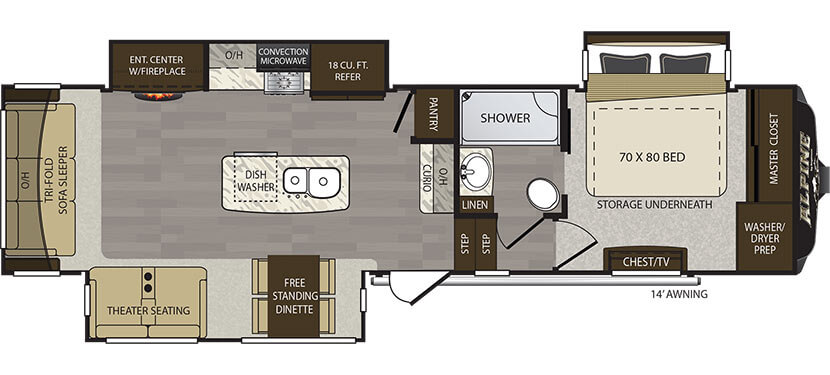 Alpine 3400RS Floor Plan