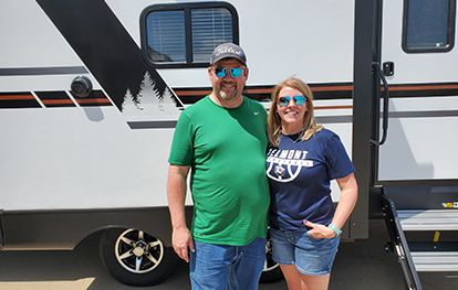 This couple bought a Vibe Travel Trailer from us.
