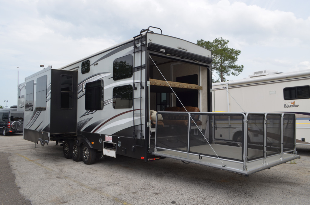 Used 2015 keystone rv raptor 365lev toy hauler fifth wheel for Toy hauler motor homes