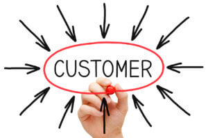 The word 'customer' circled with arrows pointing to it.