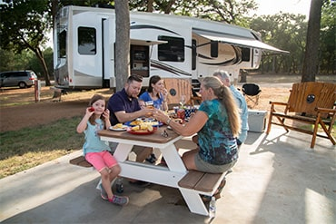 RV Family at picnic table