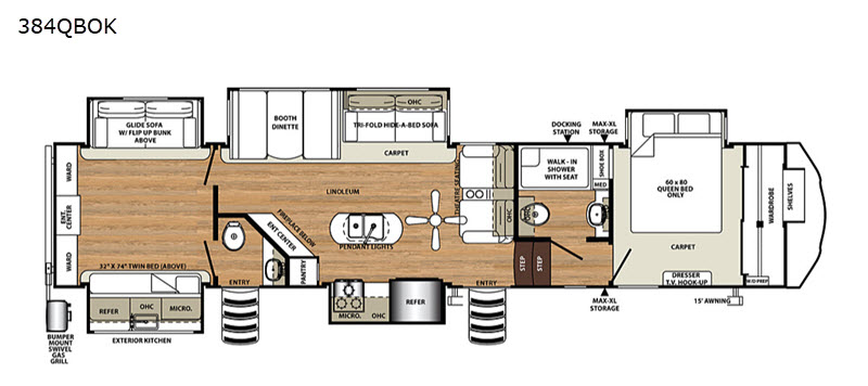 New 2020 Forest River Rv Sandpiper 384qbok Fifth Wheel At
