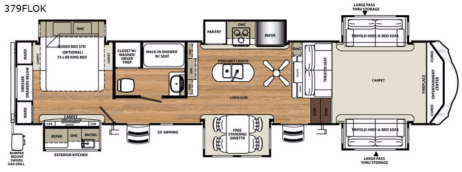 New 2018 Forest River Rv Sandpiper 379flok Fifth Wheel At