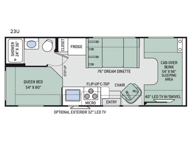 Used 2018 Thor Motor Coach Four Winds 23U Motor Home Cl C - CERTIFIED Orange Micro Crush Schematic on