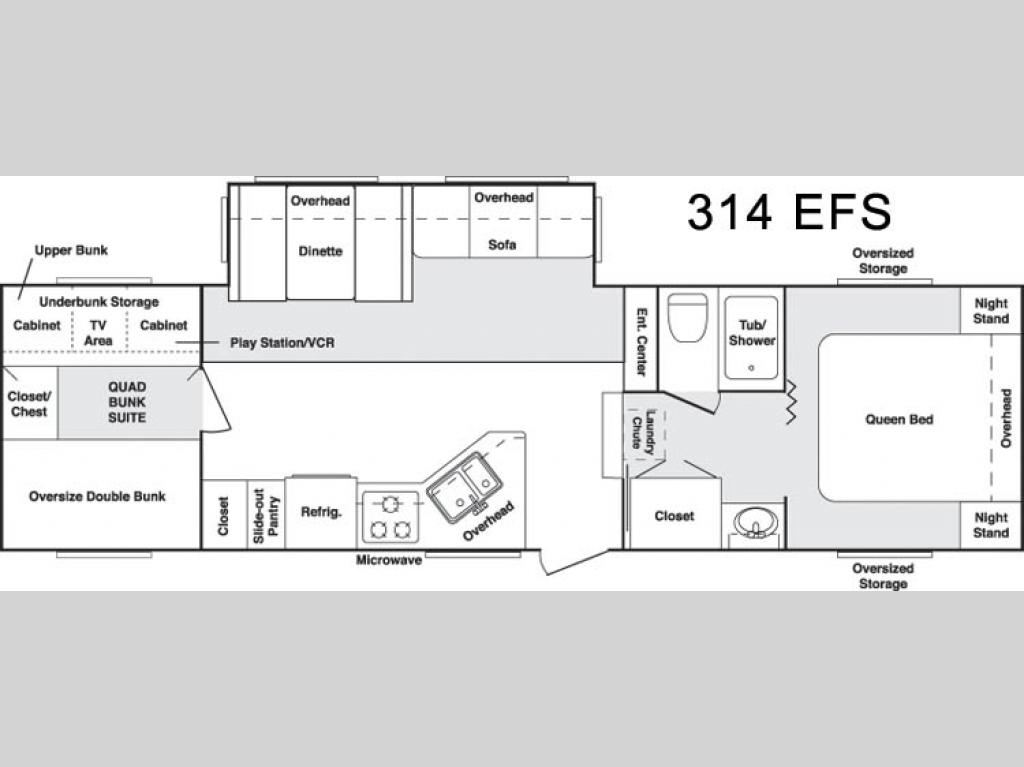 floorplan - 2006 keystone rv cougar 314efs